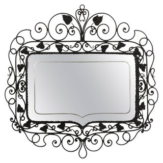 1940s Vintage Hand Wrought Etched Mirror For Sale