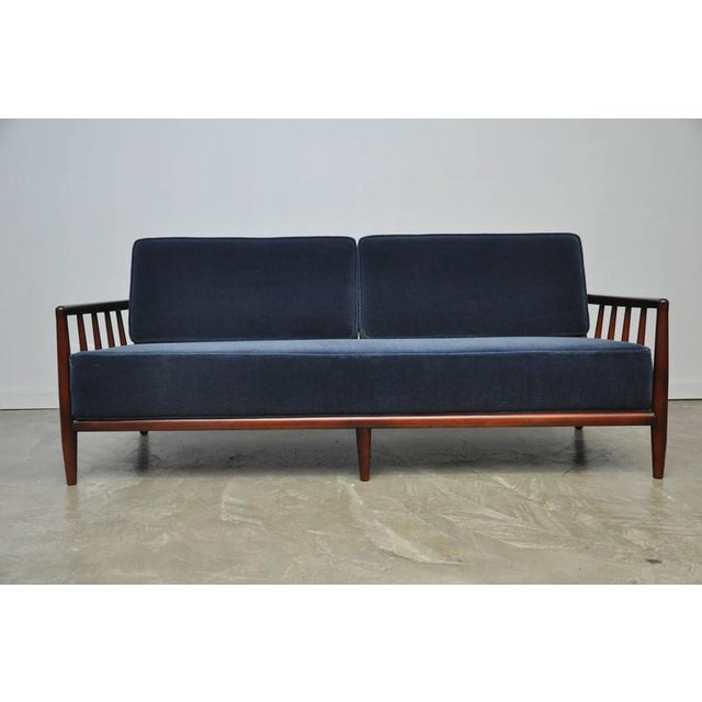 Mid-Century Modern T.H. Robsjohn-Gibbings Open-Arm Sofa in Deep Blue Mohair For Sale - Image 3 of 6