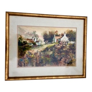 Landscape Countryside Watercolor Painting For Sale
