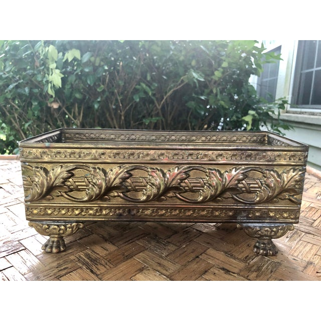 Metal 1940s Vintage Brass Repousse Embossed Rectangular Planter For Sale - Image 7 of 9