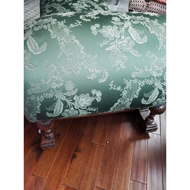 Wood Antique 1880s Green Floral Re Upholstered Chaise Lounge For Sale - Image 7 of 9