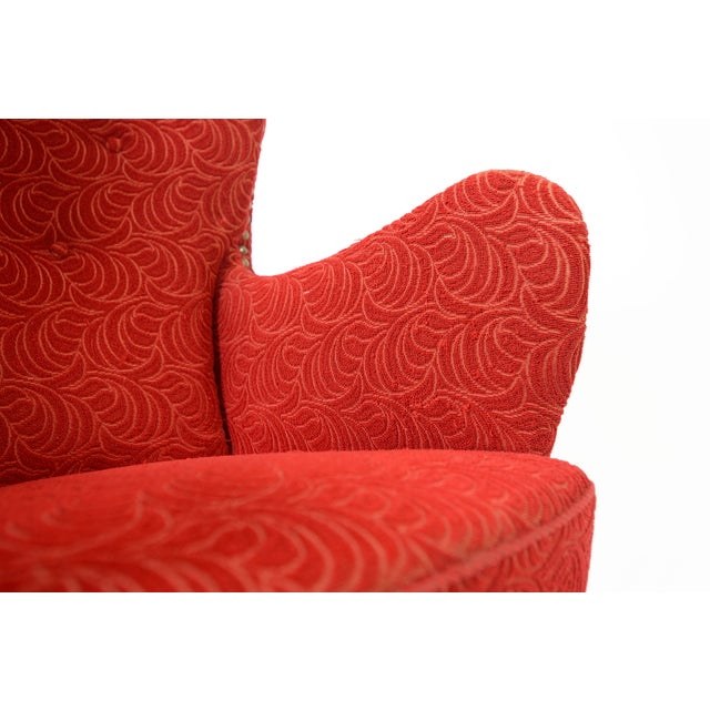 Danish Modern Crimson Frieze Club Chair - Image 8 of 11