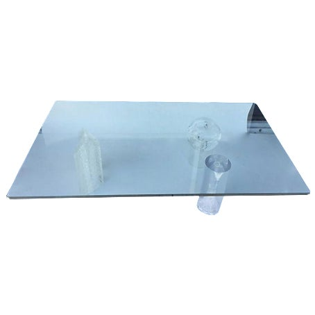 Contemporary Glass and Lucite Coffee Table - Image 1 of 6