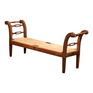 19th Century French Louis XVI Carved Walnut and Rush Daybed Settee Bench For Sale