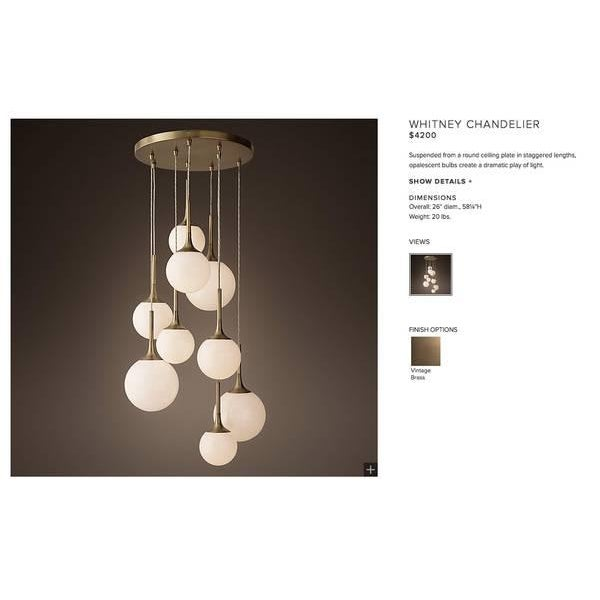 Contemporary Restoration Hardware Whitney Chandelier For Sale - Image 3 of 4