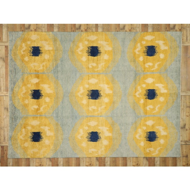 Stone Gray Contemporary Moroccan Rug With Concentric Circles - 10'02 X 13'09 For Sale - Image 8 of 10