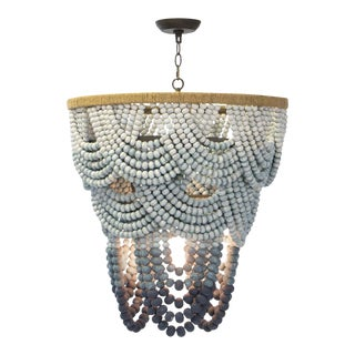 Ombre Wood Bead Chandelier For Sale