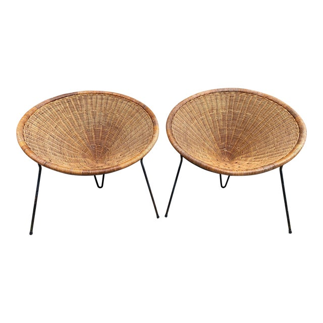 1950s Rattan Basket Armchairs - a Pair For Sale