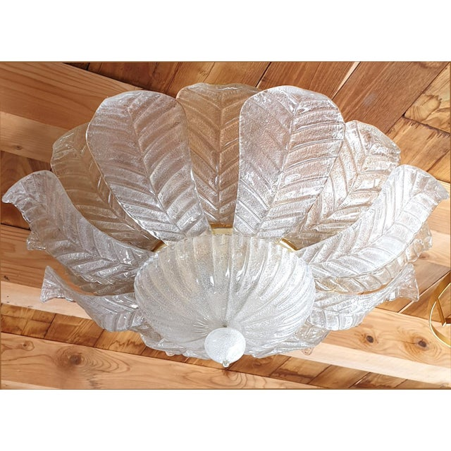 Mid-Century Modern Mid Century Modern Leaf Murano Glass Flush Mount Light by Barovier 1960- 2 Available For Sale - Image 3 of 11