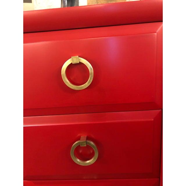 1950s Mid Century Modern t.h. Robsjohn-Gibbings for Widdicomb Credenza Dresser Freshly Painted in Red Paint For Sale - Image 5 of 8