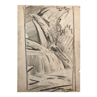 1930s Vintage Eliot Clark Waterfall Drawing