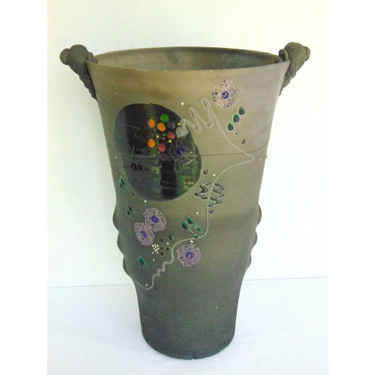Vintage Hand Thrown & Hand Decorated Pottery Vase by Jamie Davis, SC Potter (from Six Mile, SC) Markings: Stamped on the...