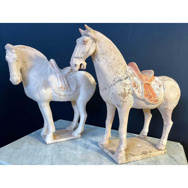 Folk Art Antique Tang Pottery Horses - a Pair For Sale - Image 3 of 13