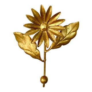 Vintage Gilded Italian Tole Floral Hook For Sale