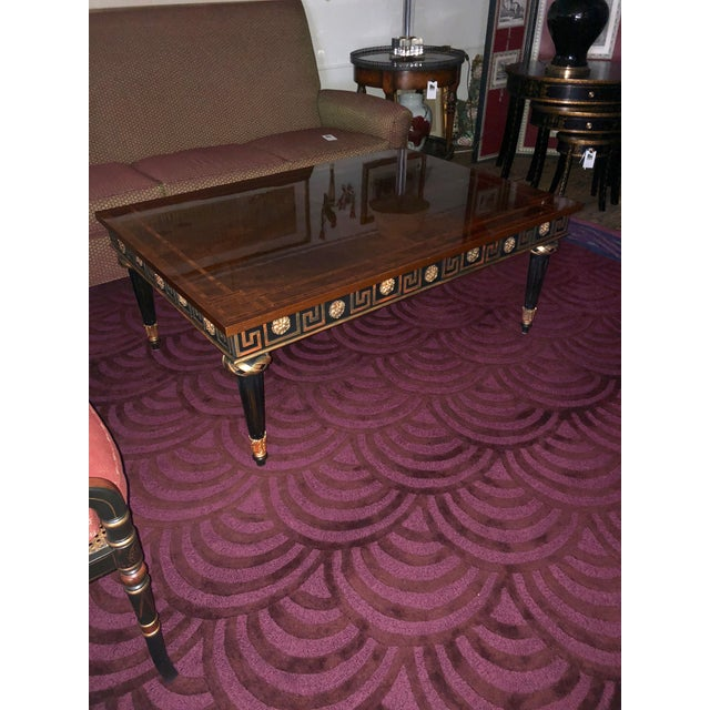 John Widdicomb 1980s Widdicomb Regency Mahogany Ebonized & Gilded Greek Key Coffee Table For Sale - Image 4 of 11