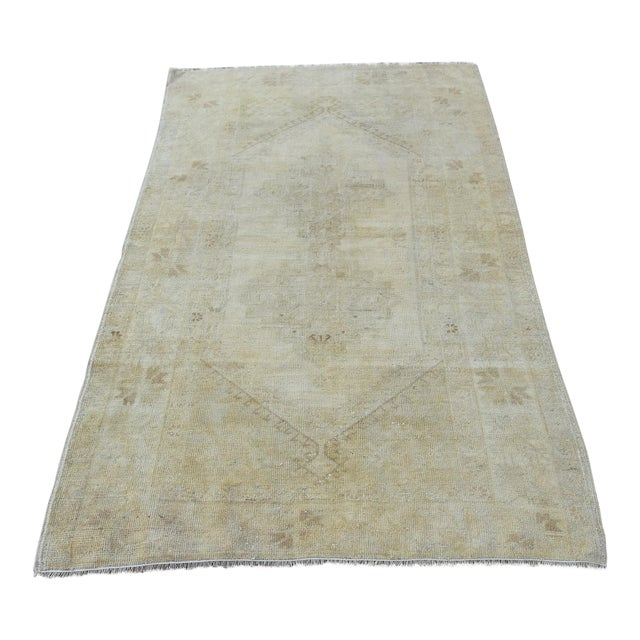 Distressed Turkish Handmade Vintage Beige Rug -3′8″ × 6′1″ - Image 1 of 8