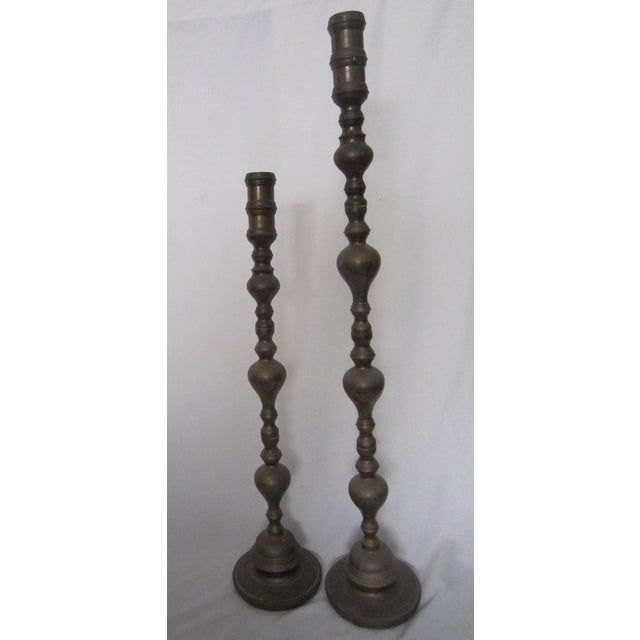 India Brass Floor Candle Holders - A Pair For Sale - Image 4 of 6