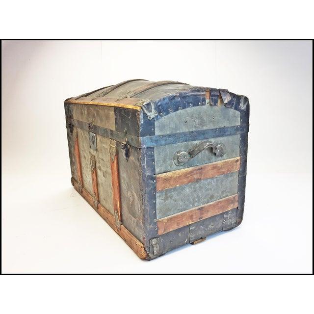 Brown Vintage Rustic Wood Camelback Steamer Trunk For Sale - Image 8 of 13