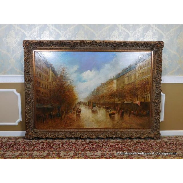 Large framed oil on canvas impressionist painting of a Paris street scene by Pencke (b. 1965), untitled. c. late 1980s....