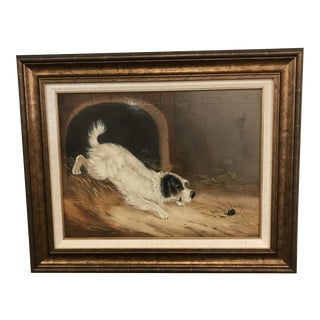 Antique English Terrier Chasing Mouse Oil Painting For Sale