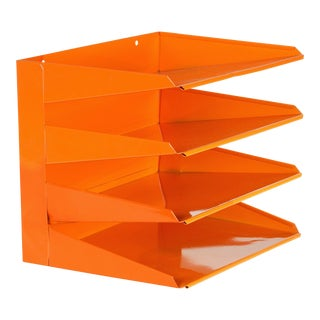 Retro Office File Organizer, Refinished in Tangerine For Sale