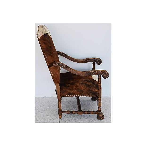 Antique Carved Oak & Cowhide Throne Armchair - Image 6 of 12