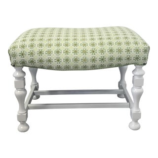 Upholstered Kediri Batik White Bench For Sale