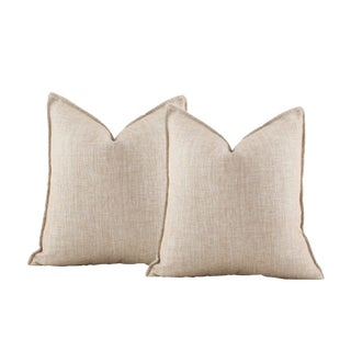 Metallic Gold Bronze Woven Pillow Covers - A Pair For Sale