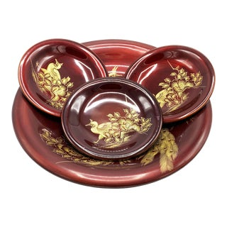 Vintage Mid-Century Japanese Red Lacquered Serving Set With Hand Painted Gold Floral and Peacock Designs - 4 Piece Set For Sale