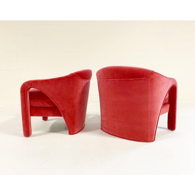 Mid-Century Modern Vintage Vladimir Kagan Style Lounge Chairs Restored in Loro Piana Pink Velvet - Pair For Sale - Image 3 of 9