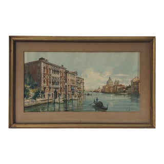 """The Grand Canal, Venice"" Antique Watercolor Painting For Sale"