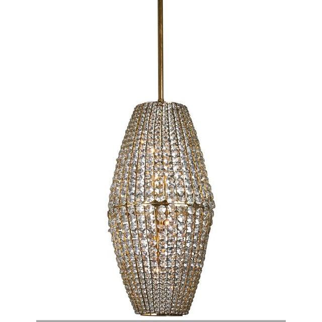 Mid-Century Modern 1950s Austrian J. & L. Lobmeyr Crystal Pendant Lantern For Sale - Image 3 of 3
