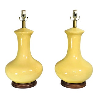 Vintage Sunny Yellow Genie Bottle Lamps - a Pair For Sale