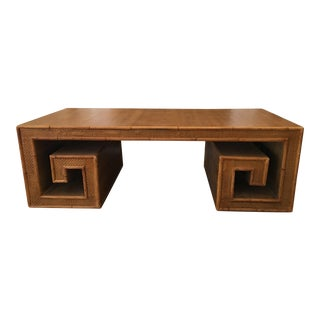 Century Furniture Vintage Rattan Greek Key Table