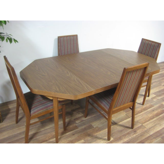 Vintage Dual Leaf Teak Dining Set - Image 8 of 11