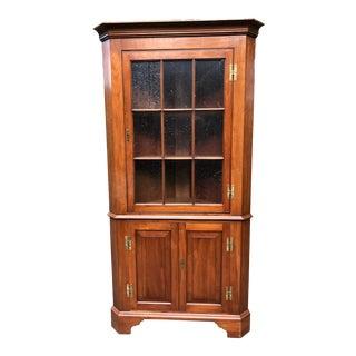 1970s Chippendale Henkel Harris Wild Black Cherry Corner Cabinet For Sale