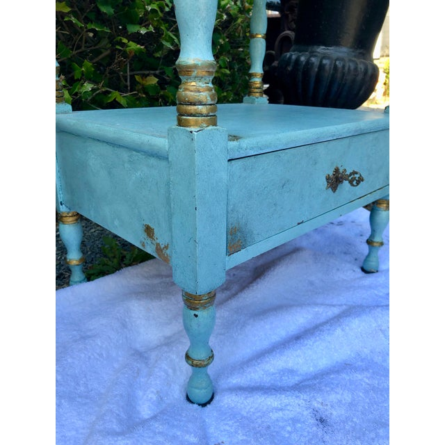 1950s 1950's Vintage Robin's Egg Blue Nightstand For Sale - Image 5 of 12