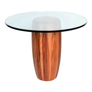 Mexican Modernist Cedar Wood Pedestal Center Table For Sale