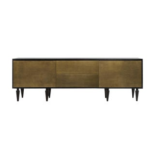 Solid Brass and Ebonized Walnut Credenza For Sale