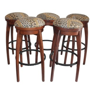 Mid-Century Rustic Bar Stools - Set of 5 For Sale