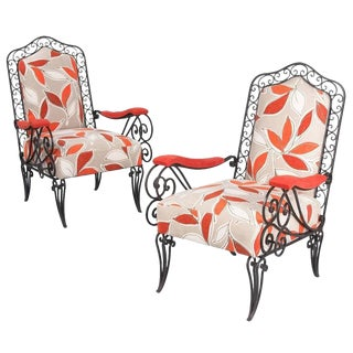 1940s French Wrought Iron Upholstered Armchairs - a Pair For Sale