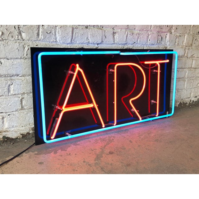 """A fantastic custom vintage neon """"ART"""" sign USA, Circa 1990s Measures: 45""""W x 2.25""""D x 22""""H. Very good working condition...."""