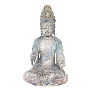 Asian Deity Statue, Carved in Wood For Sale