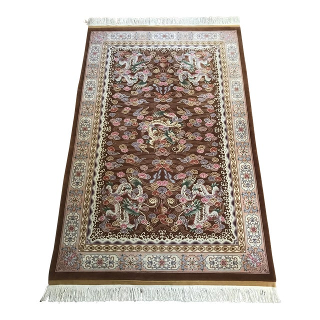 Chinese Hand Knotted Wool Dragon Rug - 6′ × 9′ For Sale