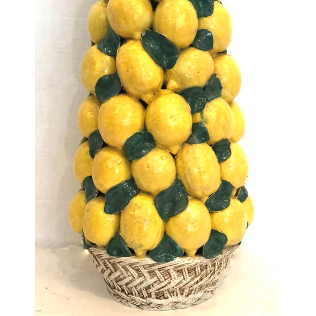 """Hollywood Regency Italian Ceramic Giant Lemon Topiary in Basket, Centerpiece, 28"""" High For Sale - Image 3 of 12"""