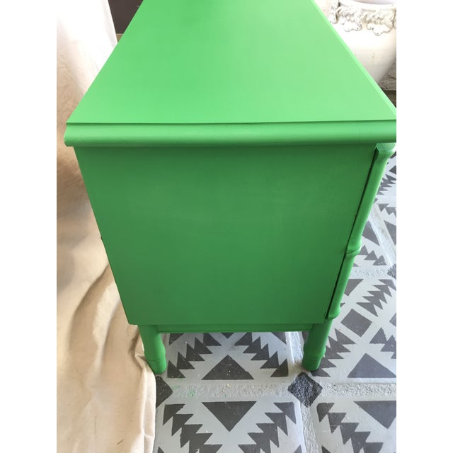 1960s 1960s Vintage Mid Century Modern Green Painted Faux Bamboo Nightstand For Sale - Image 5 of 9