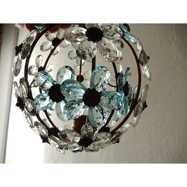 French Aqua Blue Flower Ball Crystal Prisms Maison Baguès Style Chandelier For Sale - Image 4 of 11