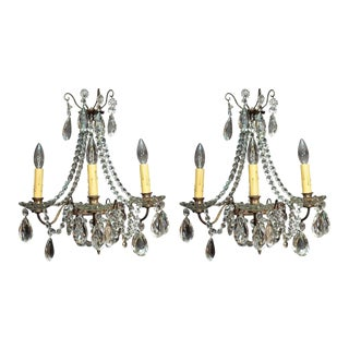 Pair of Antique French Crystal Three-Light Wall Sconces