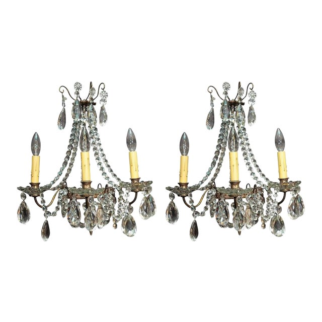Pair of Antique French Crystal Three-Light Wall Sconces For Sale