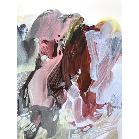 """Abstract Dana Oldfather """"Soft Armor 4"""" Abstract Colorful Painting on Paper For Sale - Image 3 of 5"""
